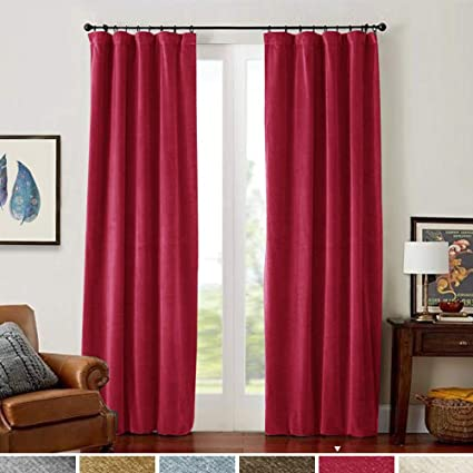 Amazon.com: Red Velvet Curtains 108 inches Long Rod Pocket Living ...