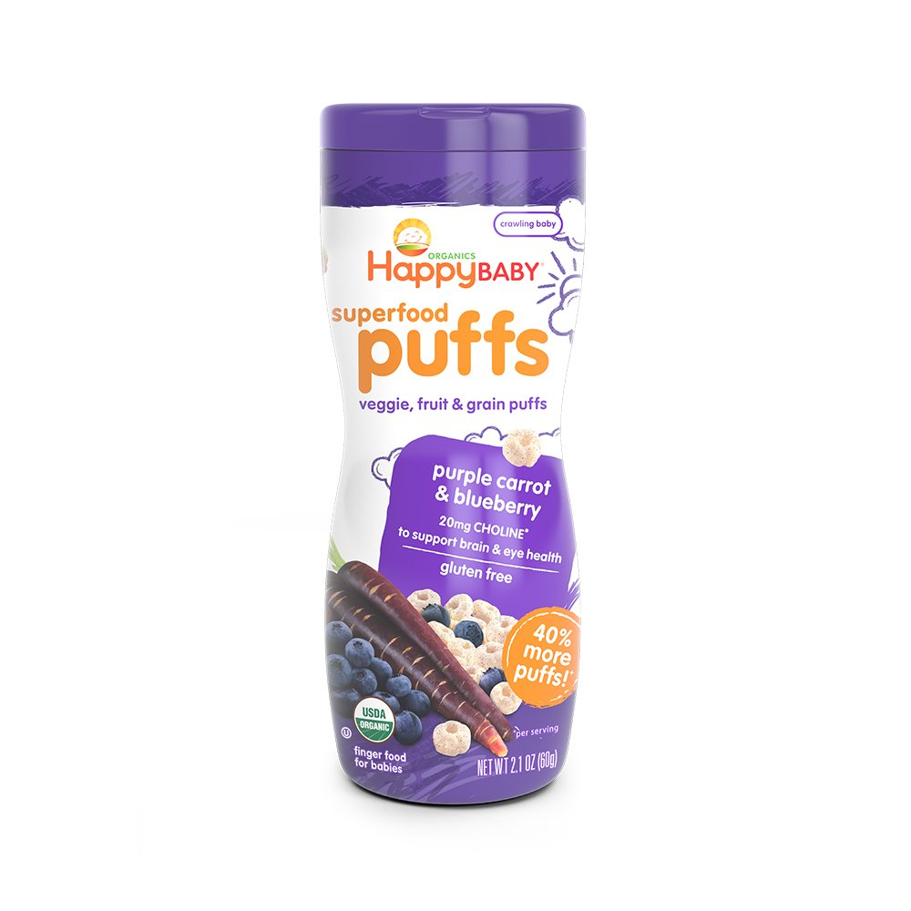 Happy Baby Organic Puffs Purple Carrot and Blueberry, 2.1 oz (Pack of 6) 01024