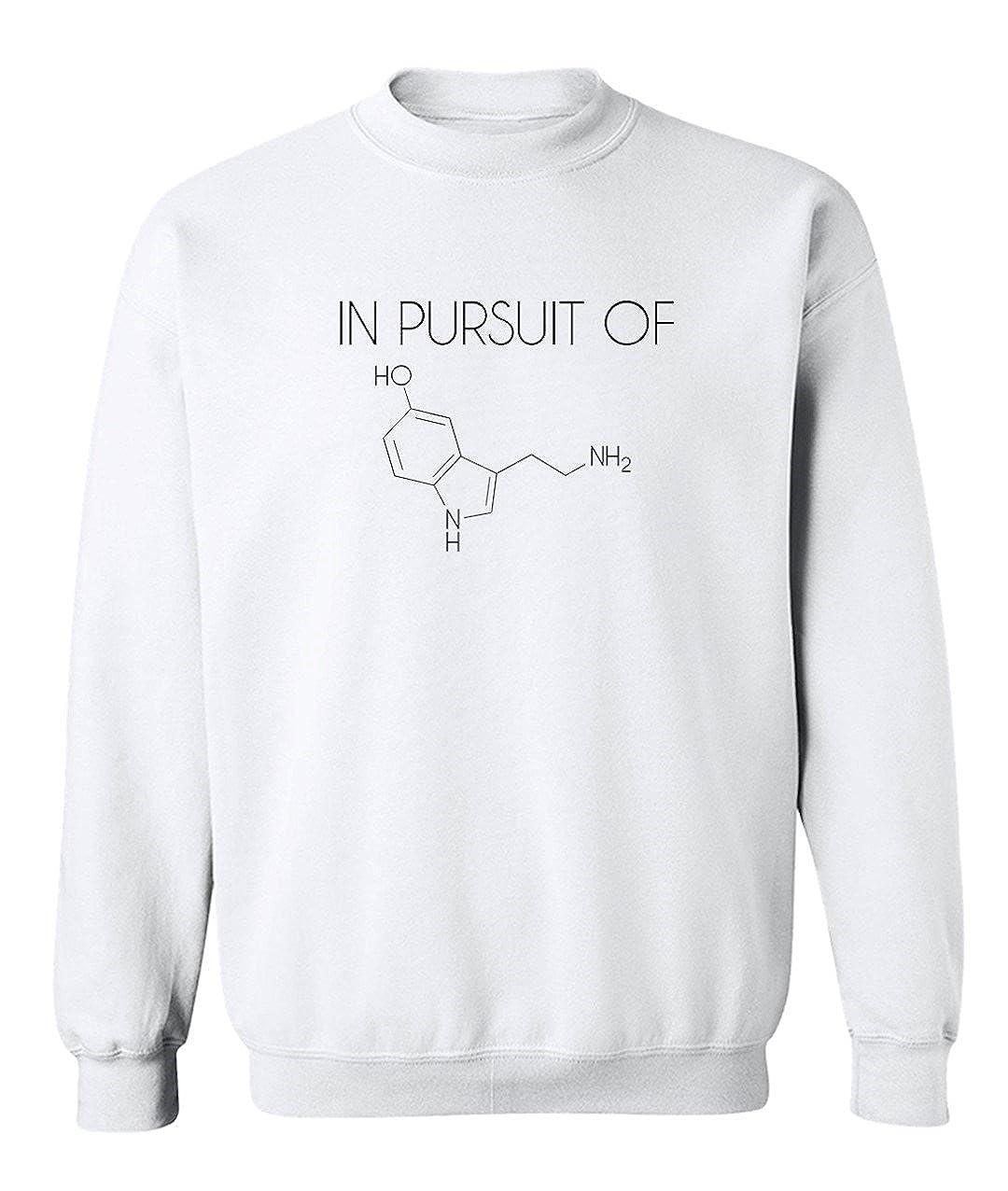 Funny Science Nerd Periodic Table in Pursuit of Hapiness Serotonin Graphic Design Crew Neck Sweatshirt