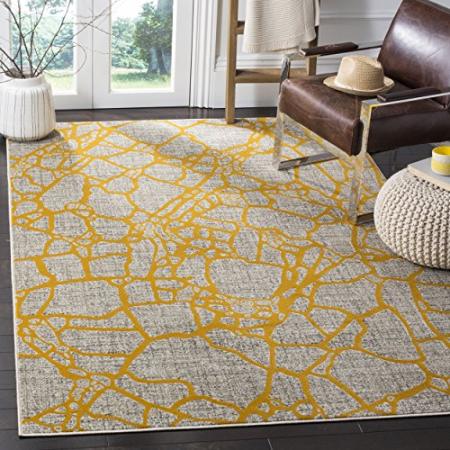 Safavieh Porcello Collection PRL7737C Light Grey and Yellow Area Rug, 3' x 5'