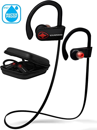 Wireless Bluetooth Running Headphones – SoundWhiz Noise Cancelling Waterproof Workout Earbuds – w Mic Siri. Best Sport Headphones 8 Hours Play