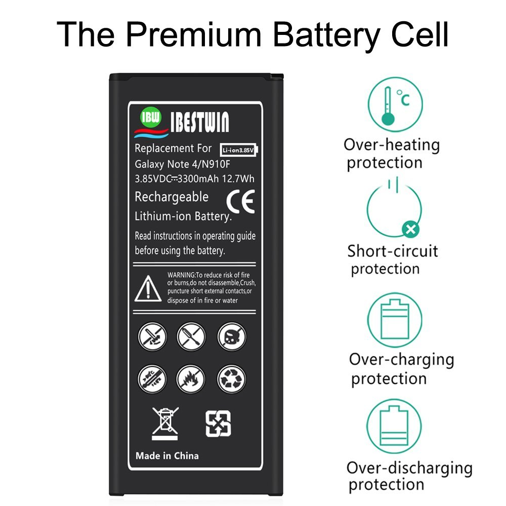 Note 4 Battery IBESTWIN 3300mAh Li-ion Replacement Battery for Samsung Galaxy Note 4 N910, N910V, N910A, N910T, N910P, N910R4, N910U 4G LTE, N910F [3 Years Warranty] by IBESTWIN (Image #3)