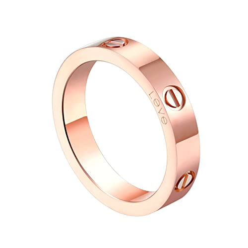 Review Z.RACLE 4mm Love Rings for Women with Screw Design Best Gifts for Love Rosegold