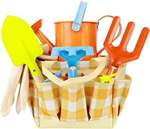Directtyteam Kids Gardening Tool Set, 7 PCS Kids Garden Tools Shovel, Rake, Fork, Gloves, Watering Can and Tote Bag, Outdoor Garden Tool Toys Gift for Kids Boys and Girls