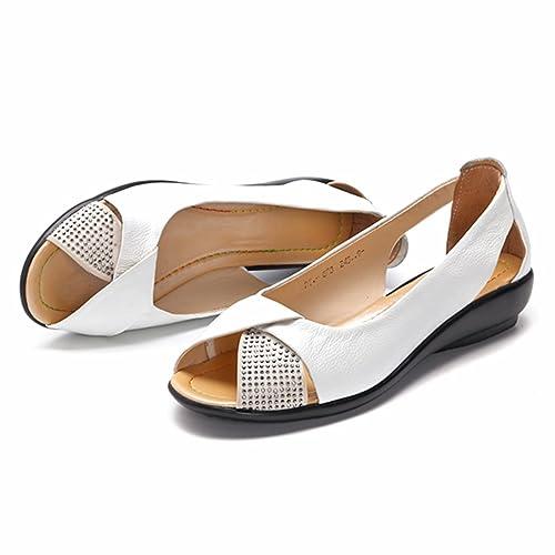 e970117f129ba2 Socofy Sandales Femme, Chaussures de Ville Été en Cuir à Talons Compensés  Ballerines Bout Ouverts