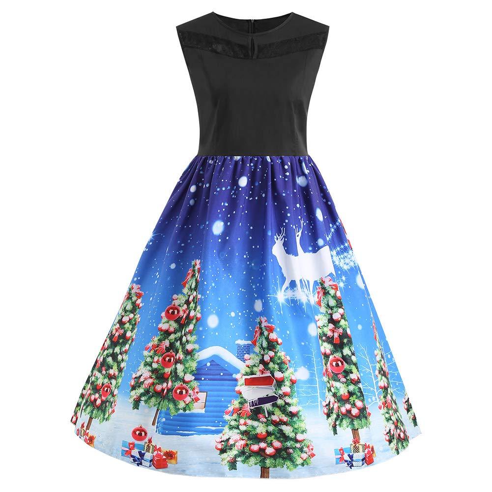 Weihnachtskleid Damen/] Ärmellos Kleid Festlich Kleid A-Linie
