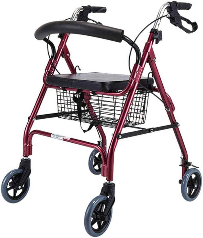 ZCPDP Ultra Ligero Plegable Andador, Cuatro Ruedas Andador Walker con roturas de Cables, Andador con la Placa de Asiento con Freno, Apto para Personas de Movilidad Reducida Uso al Aire Libre