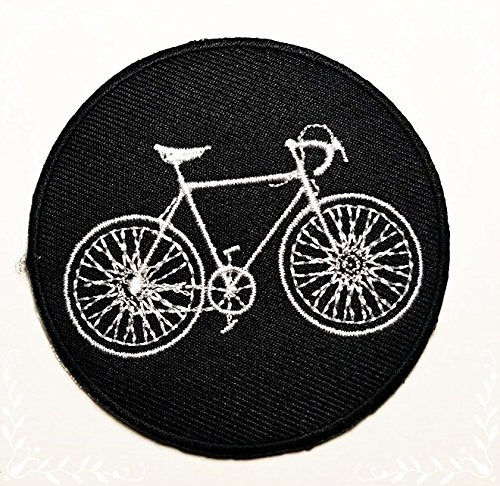 HHO Black Bicycle Mountain Road Bike Patch Embroidered DIY Patches, Cute Applique Sew Iron on Kids Craft Patch for Bags Jackets Jeans Clothes