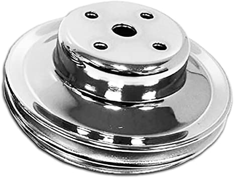 1 Groove Fits 1969-85 Chevy SB Small Block Black Steel Water Pump Pulley Long