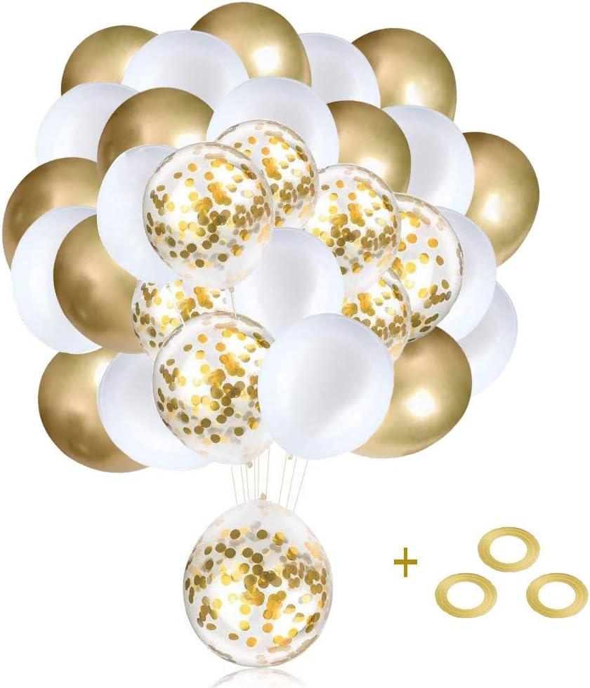 Globos de Cumpleaños, Helio para Globos, Globos Boda,60Piezas Kit Globos Dorados, Cumpleaños, Baby Shower, Graduación, Decoraciones de Fiesta de Ceremonia
