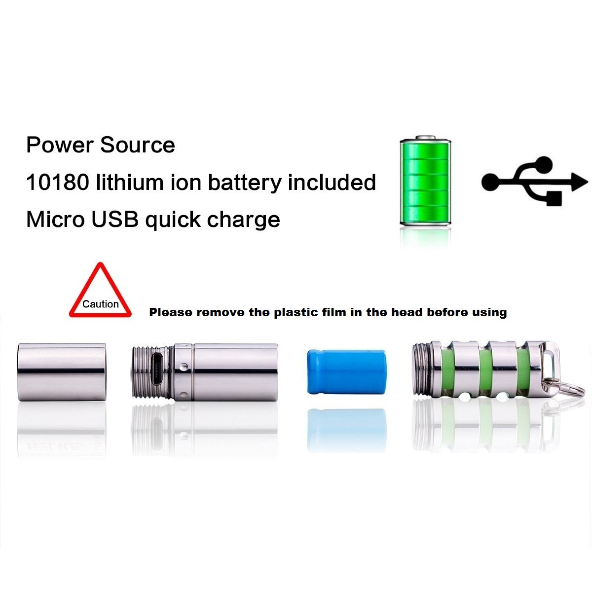 IPX8 Waterproof Shockproof,High Low 130 Lumen 2 Mode+10180 battery Mini Portable Outdoor Camping Cree LED USB Rechargeable Keychain Flashlight,Small Gift Emergency XP-G2 Keyring Torch Light
