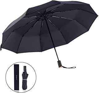 "Bodyguard Innovation 10 Fibreglass Ribs Travel Umbrella - ""Dupont Teflon"" 210T Finest Waterproof Fabric, Auto Open and Close, Ultra Comfort Handle- Gift Box (Black)"