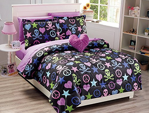 Elegant Home Black Green Pink Purple Blue Peace Sign Skull Stars Hearts Design6 Piece Comforter Bedding Set for Girls / Teens Bed In a Bag With Sheet Set & Decorative TOY Pillow # FA011 (Twin (Pink Peace Signs Hearts)
