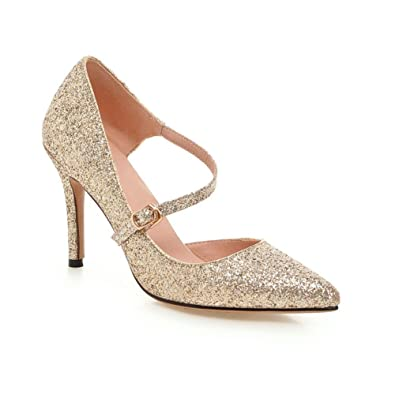 7001123a223 KingRover Women s Pointed Toe Sequins Buckle Pumps Wedding Party Pumps Shoes