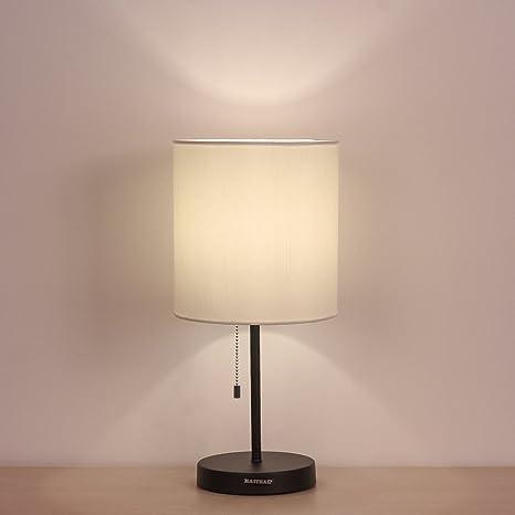 Amazon.com: HAITRAL Table Lamp Metal base Fabric Lamp Shade Night ...