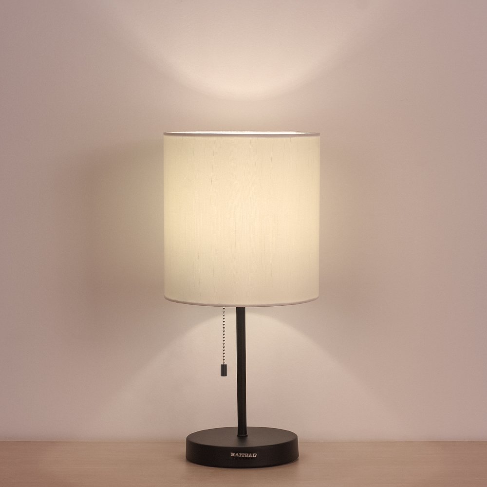 HAITRAL Table Lamp Metal base Fabric Lamp Shade Night light for Living Room, Bedroom, College Dorm by HAITRAL (Image #1)