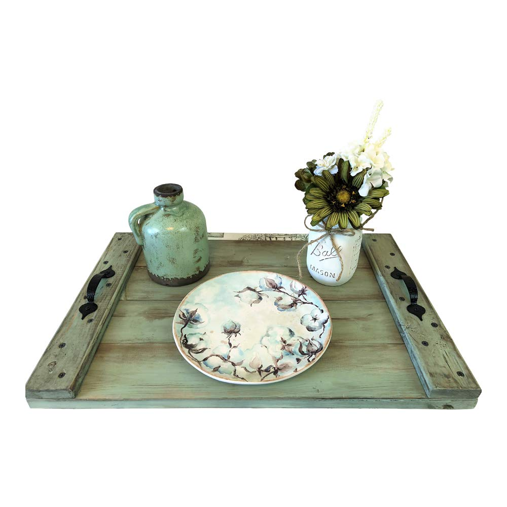 Distressed Sage Green Wood Serving Coffee Table Tray