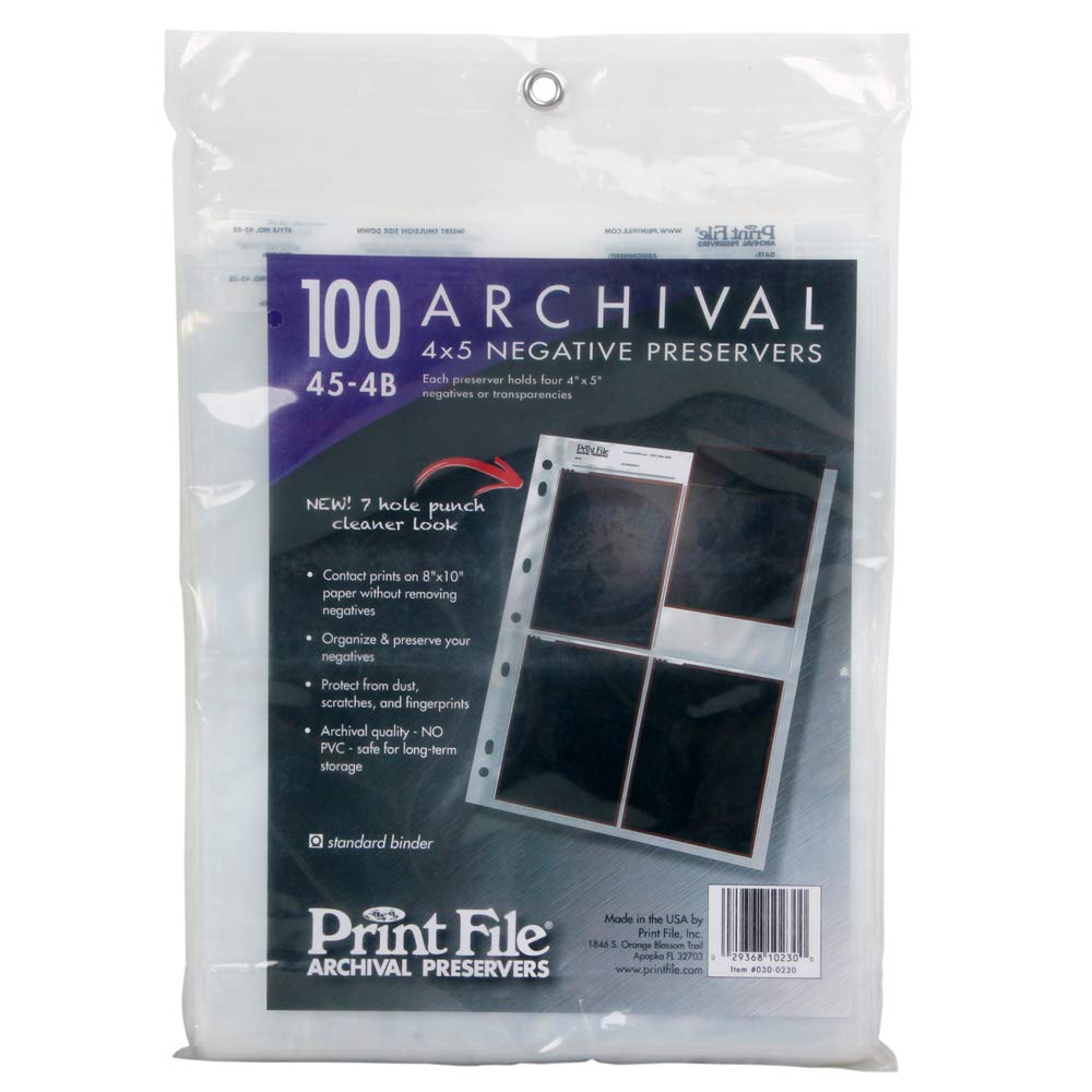100x Archival Sleeves Pages Holds Four 4x5 Negatives Transparencies Print File by Print File