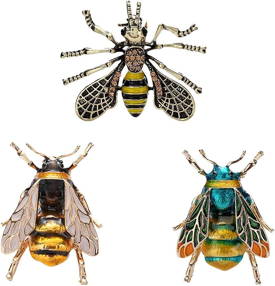 TOOGOO 3 Piezas Estilo Nuevo Vintage Broches Abeja Pin Broche De Metal Insecto Unisex Joyas para Hombres Y Mujeres Insignias De Abejorro Peque?o Joya De Moda