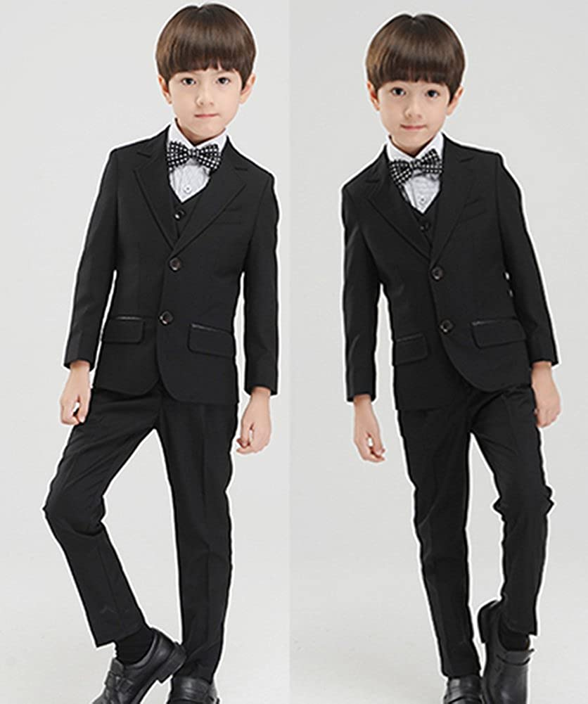 SK Studio Boys 5-Piece Textured Slim Fit Formal Wedding Dress Suits