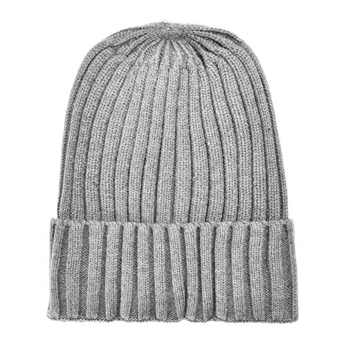 Unisex Winter Ribbed Knit Cuff Beanie Hat Soft Comfort Skull Cap, (Lightweight Ribbed Beanie)