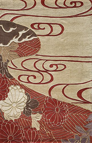 """Momeni Rugs KOI00KO-15RED5380 Koi Collection Hand Tufted 100% Wool Transitional Area Rug, 5'3"""" x 8', Red"""