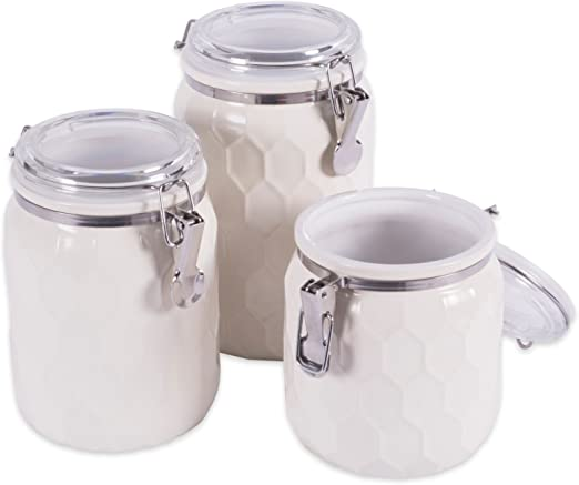 Grey Set of 3 Airtight Round Tea Sugar and Coffee Storage Canister Jars