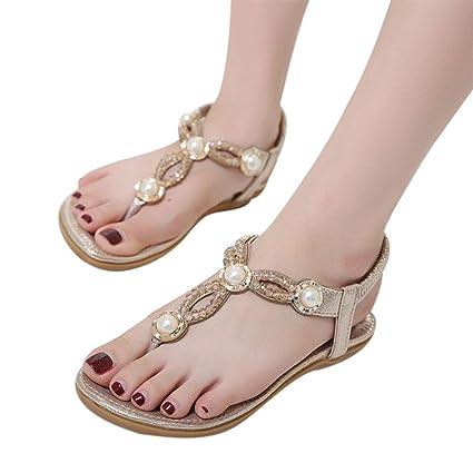 62d251a877c Amazon.com  Hemlock Women Size 4.5-10 Flat Sandals Bohemia Pearl Sandal  Shoes (US 4.5
