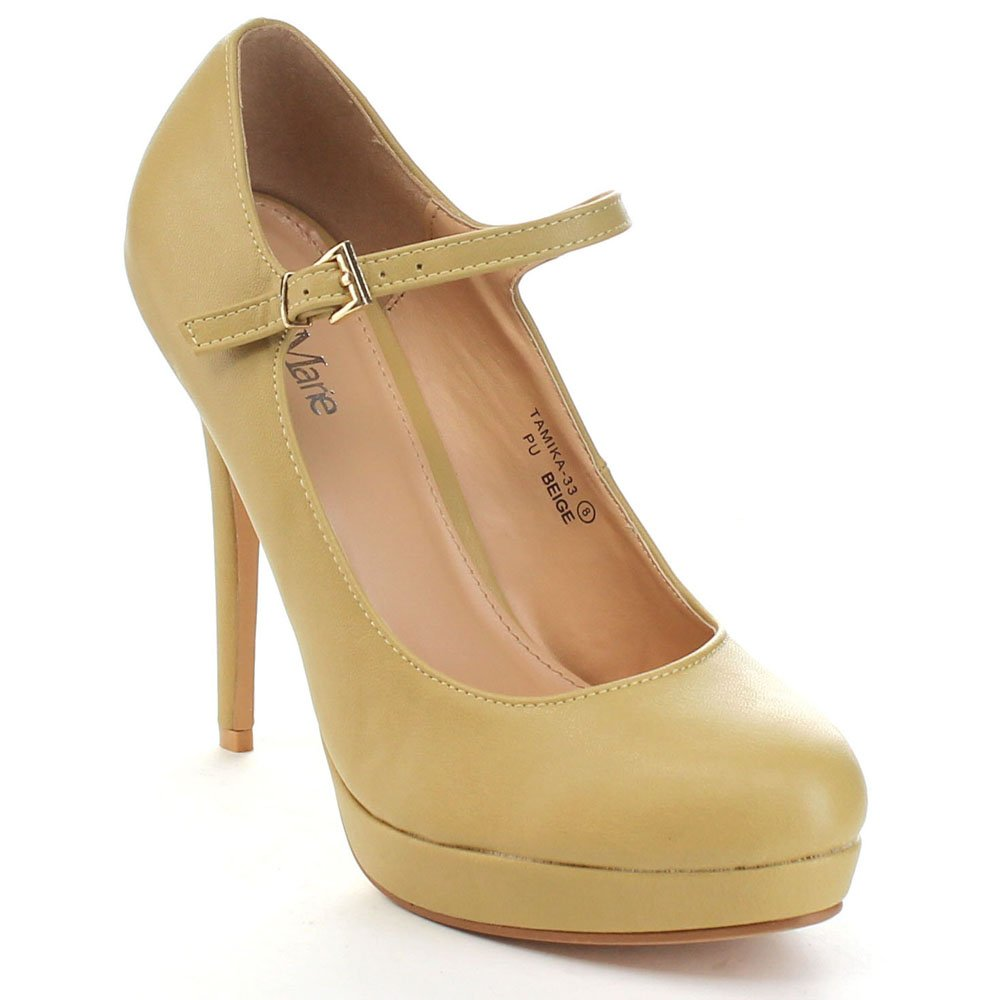 BellaMarie Tamika-33 Womens Lovely Ankle Strap High Platform Pump Dress Shoes,Beige,10