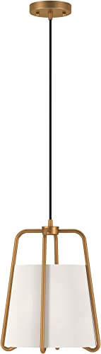 Henn Hart PD0072 Modern 1-Light Contemporary Style Brass with White Fabric Shade for, Kitchen, Dining, Living Room Pendant, One Size