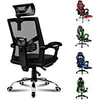 ALFORDSON Mesh Office Chair Gaming Executive Fabric Seat Racing Footrest Recline(Black)