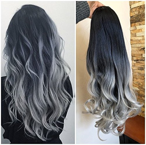 20 Inches Full Head Ombre Dip Dyed Loose Curls Wavy Curly Clip-in Hair Extensions 6pcs Pack (natural black to grey)