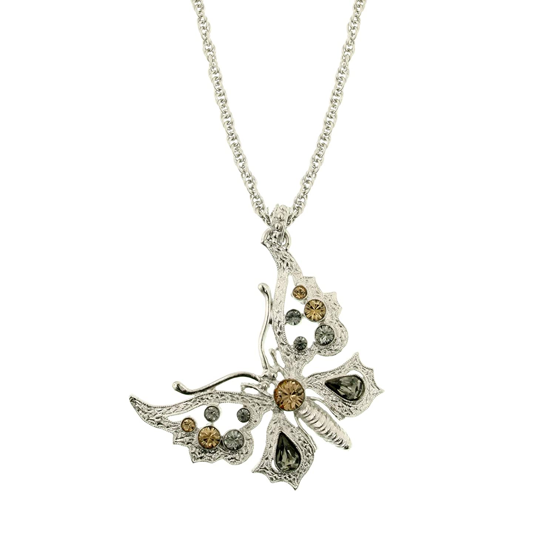 Colorado//Blk Diamond Butterfly Necklace 16 Adj. 1928 Jewelry Silver-Tone Lt
