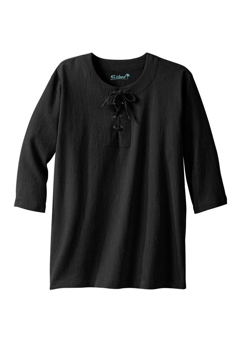 KingSize Men's Big & Tall Gauze Lace-Up Shirt, Black Big-6Xl