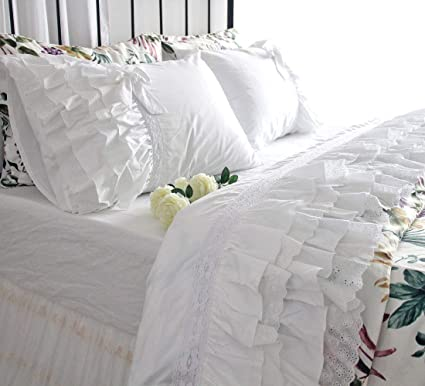 Amazon Com Queen S House Cute Lace Ruffled White Bed Sheets Sets