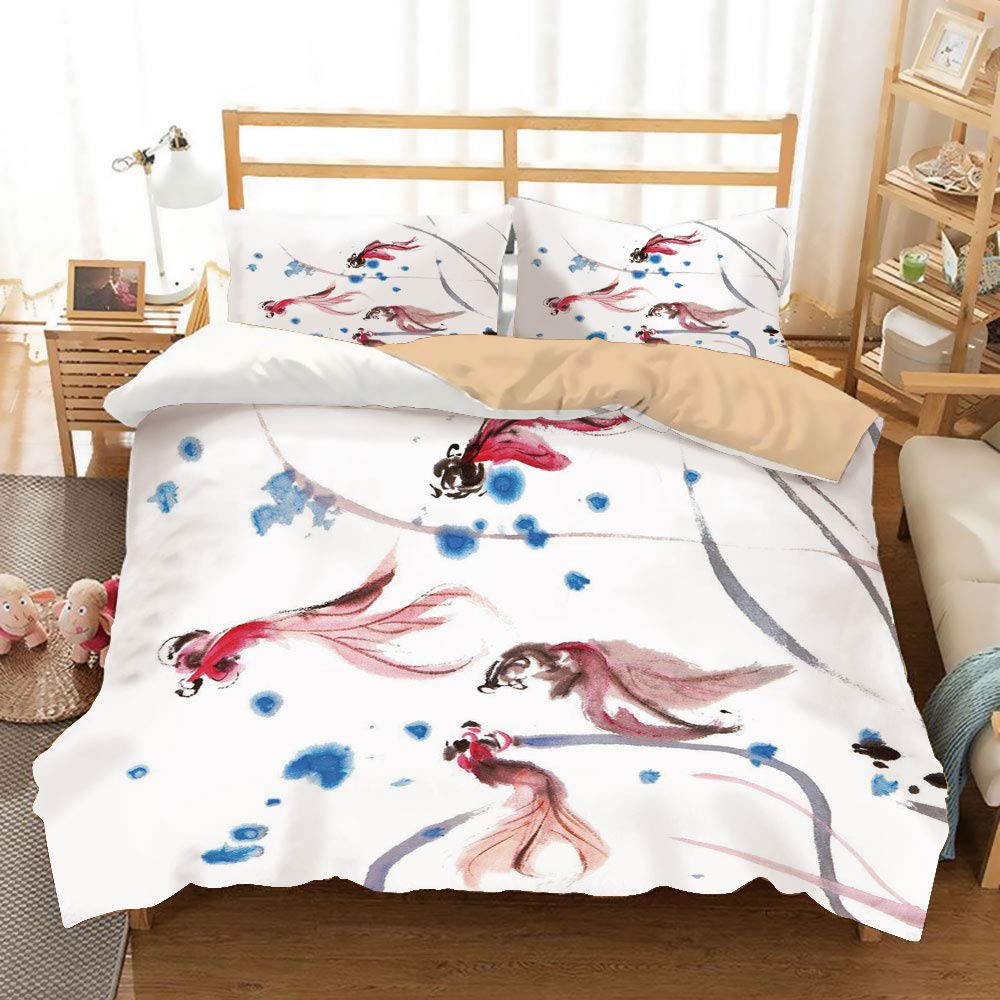 Ethnic Decor Khaki Duvet Cover Set King Size,Chinese Traditional Ink Painting Stylized Koi Fish Figures Asian Ethnic Artwork,Decorative 3 Piece Bedding Set with 2 Pillow Shams,Red Blue