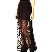 Howme-Women Funky Pure Color See Through Breathable Swing Skirt
