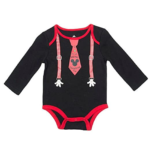 ab5458415 Disney Baby Boys Black Faux Suspender & My 1st Mickey Christmas Tie Long  Sleeve Lap Shoulder
