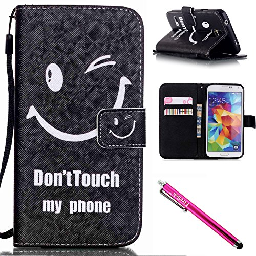 Galaxy S5 Case, Galaxy S5 Wallet Case, Firefish [Kickstand] [Shock Absorbent] Double Protective Case Flip Folio Slim Magnetic Cover with Wrist Strap for Samsung Galaxy S5 i9600-Smile