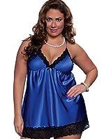 The-Fox Women's Silk Sexy Lingerie Slip Dress with G-string set