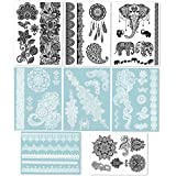 Hakuna 8 Sheets Temporary Tattoos - Over 40+ Henna Designs, Black&White Lace Style Body Art Stickers