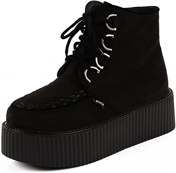 9ce68494a19c RoseG Women s High Top Suede Lace up Flat Platform Creepers Shoes Boots  Black Size3.5