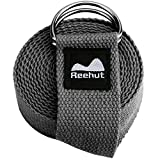 REEHUT Yoga Strap (8ft) - Durable Cotton Exercise Straps w/Adjustable D-Ring Buckle for Stretching, General Fitness, Flexibility and Physical Therapy(Gray)