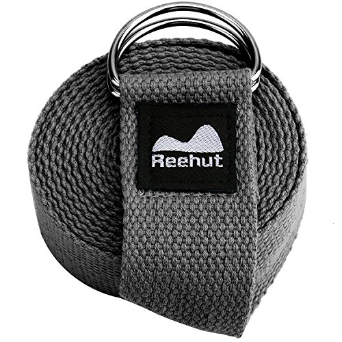 REEHUT Fitness Exercise Yoga Strap (10ft) w/Adjustable D-Ring Buckle for Stretching, Flexibility and Physical Therapy(Gray)