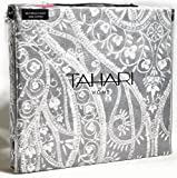 Tahari Home 3pc Duvet Cover Set Paisley Medallion Silver Grey White Luxury Cotton Sateen (Queen)