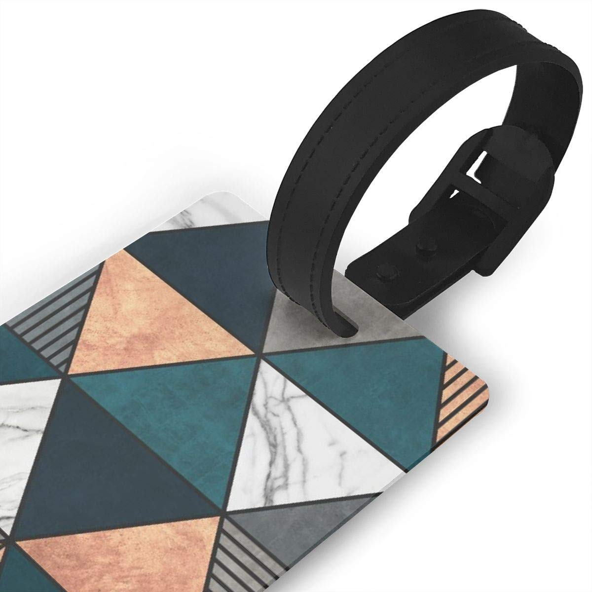 Copper marble and concrete triangles with blue Luggage Tags Suitcase Labels Bag Travel Accessories Set of 2