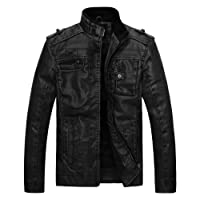 Wantdo Men's Vintage Stand Collar Pu Leather Jacket