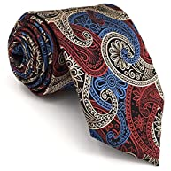 Shlax&Wing New Design Mens Neckties Paisley Blue Red White Ties For Men Silk