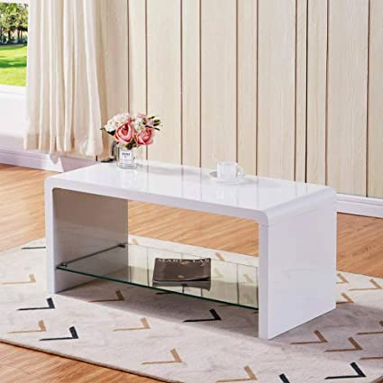 Super Goldfan High Gloss Coffee Tables With Glass Storage Shelf Modern Rectangle White Gloss Side Living Room Tables For Office Furniture Inzonedesignstudio Interior Chair Design Inzonedesignstudiocom
