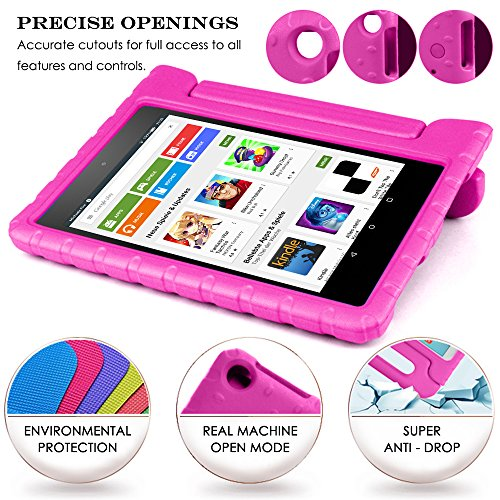 Tablet All-New Fine 7 2015 Case with Screen Protector & Stylus, AFUNTA Convertible Handle EVA Protective Case, PET Plastic Cover & Touch Pen Compatible 7 inch Tablet (5th Generation 2015 Release)-Rose by AFUNTA (Image #8)